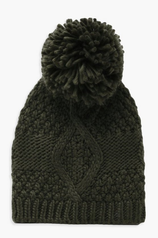 Alice Cable Knitted Pom Beanie
