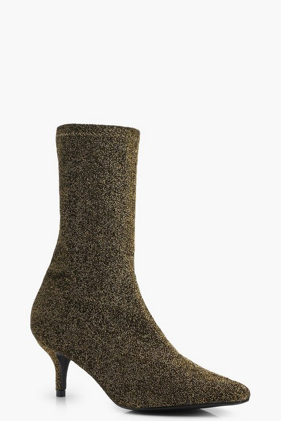 Shimmer Pointed Toe Kitten Heel Sock Boots
