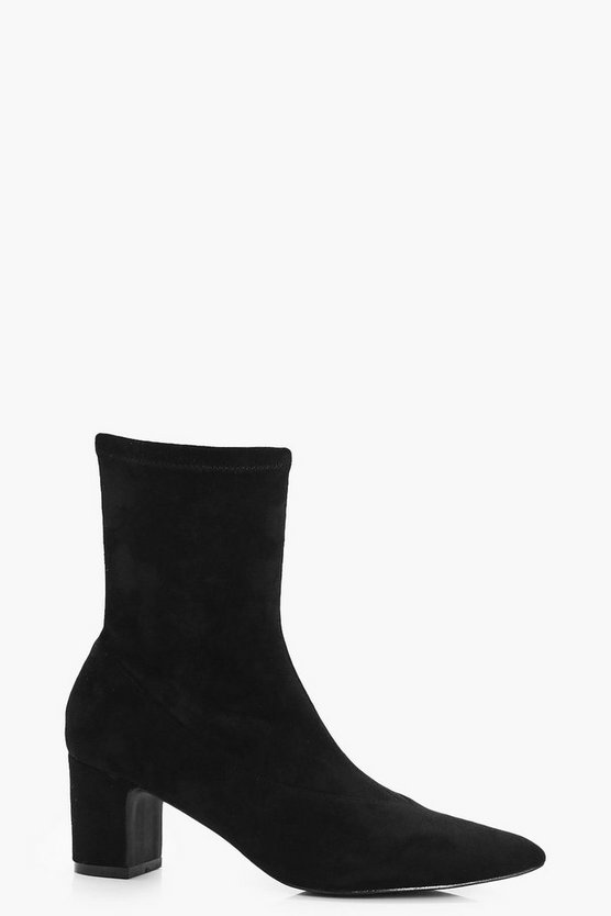 Ava Stretch Low Heel Sock Shoe Boots