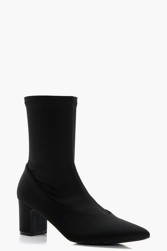 Grace Stretch Low Heel Sock Shoe Boots