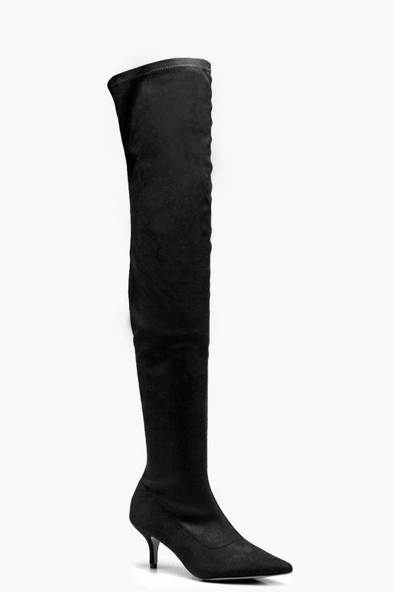 Jessica Pointed Kitten Heel Over the Knee Boots