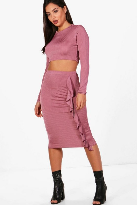 Lo Ribbed Cropt Top and Ruffle Midi Skirt Set
