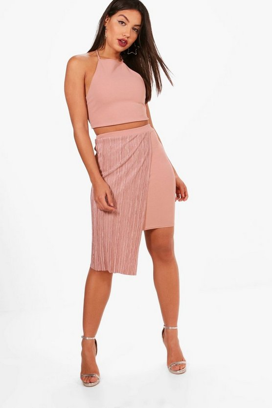 Strappy Crop and Pleated Mini Skirt Set