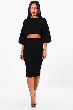 amber puff ball sleeve top and midi skirt set