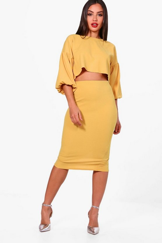 Puff Ball Sleeve Top and Midi Skirt Set