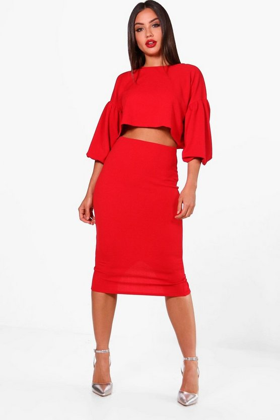 Amber Puff Ball Sleeve Top and Midi Skirt Set