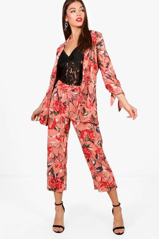 Floral Trouser and Tie Detail Jacket Set