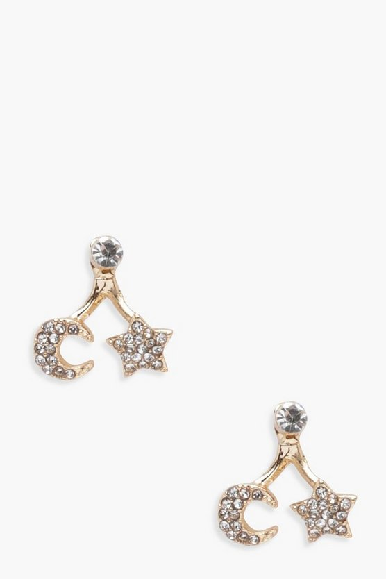 Ella Diamante Swing Moon And Star Earrings