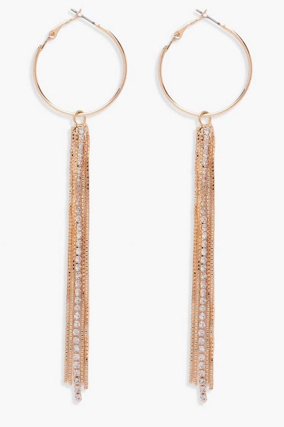 Emily Hoop Chain Diamante Tassel Earrings