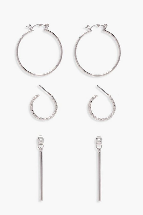 Laura Hoop And Bar Drop Earrings 3 Pack