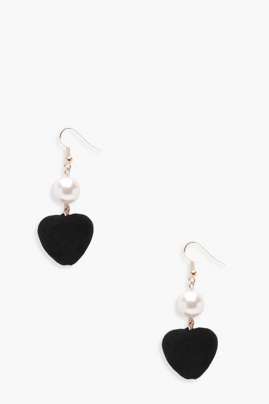 Amy Pearl And Velour Heart Earrings