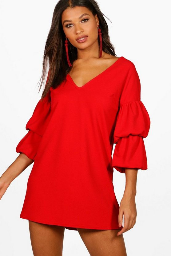 Lucy Puff Sleeve V Neck Shift Dress
