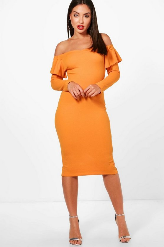 Vaida Frill Detail Off the Shoulder Midi Dress