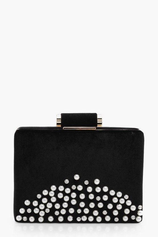 Fi Pearl and Diamante Velvet Box Clutch Bag