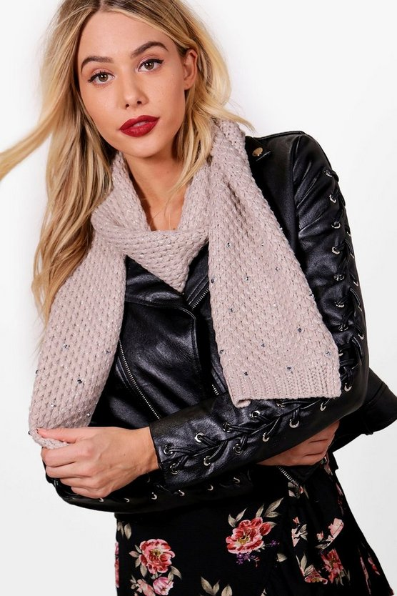 Izzy Diamante Chunky Knitted Scarf
