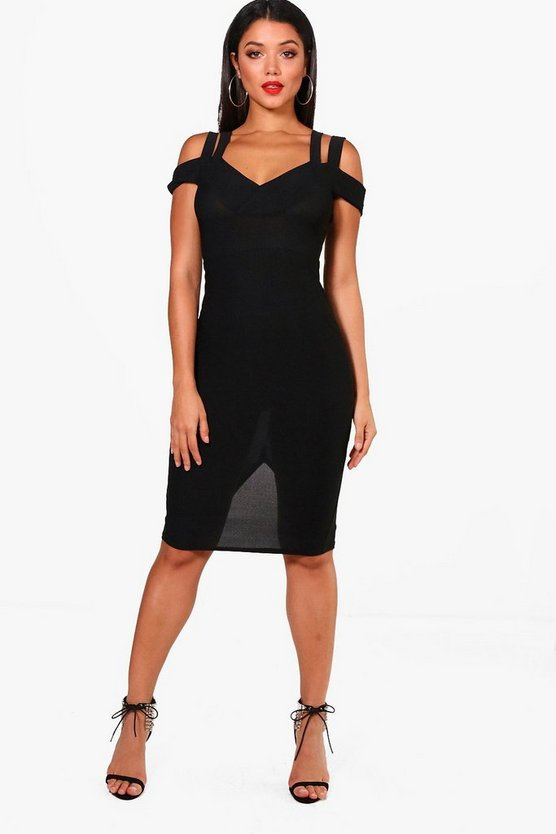 Maisy Crepe Cold Shoulder Detail Midi Dress