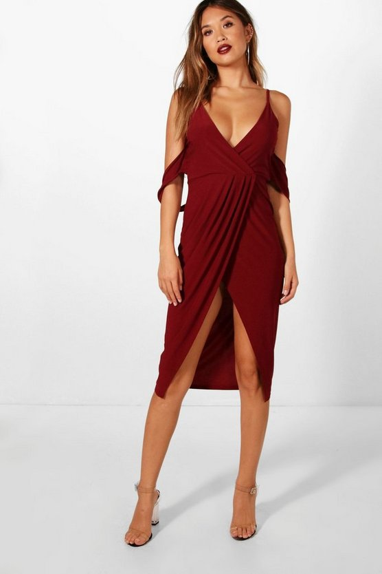 Ruby Cold Shoulder Wrap Skirt Midi Dress
