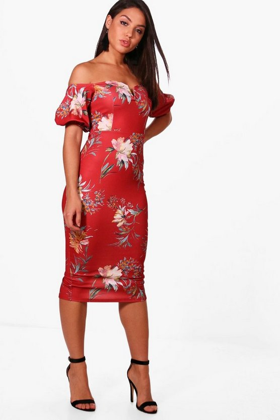 Lizzie Floral Print Off the Shoulder Midi Dress