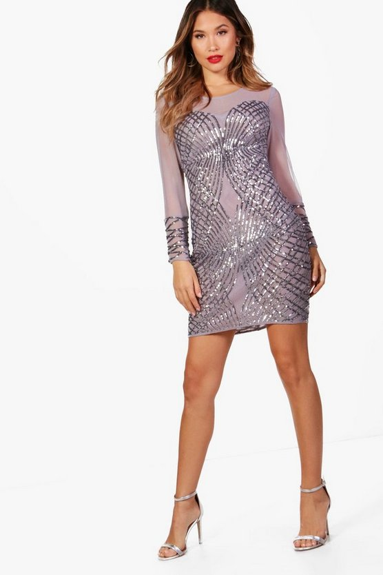 Boutique Sequin and Mesh Bodycon Dress