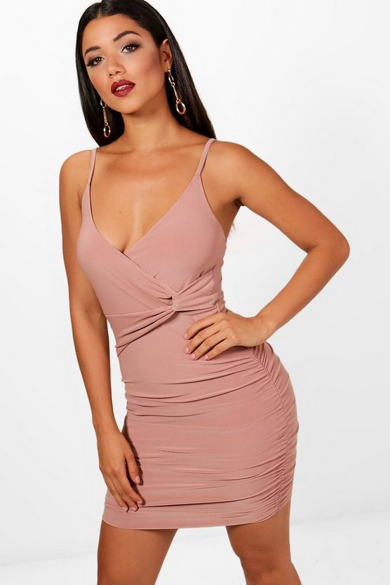 Strappy Wrap Detail Bodycon Dress