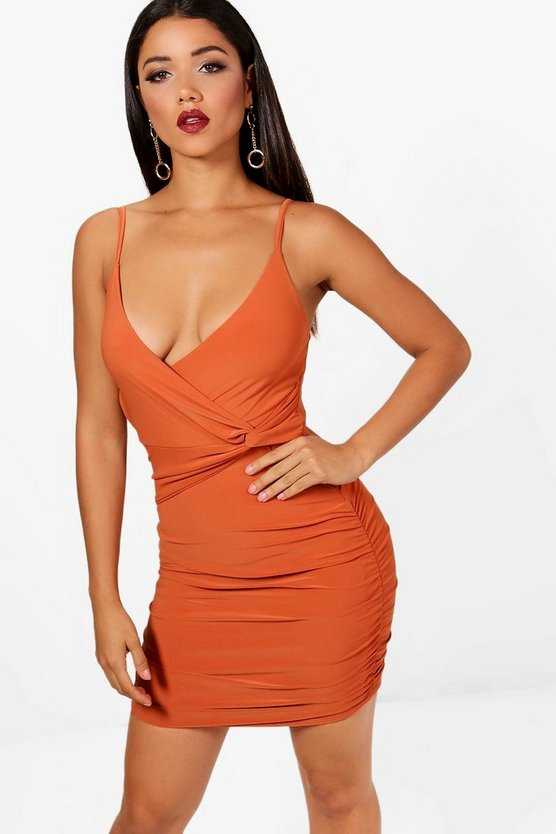 Cyra Strappy Wrap Detail Bodycon Dress