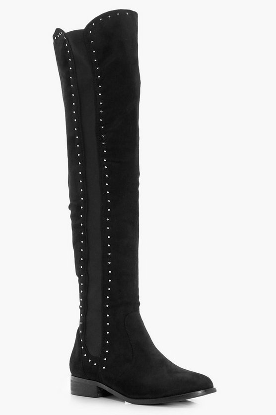 Mae Stud Trim Stretch Flat Over the Knee Boots