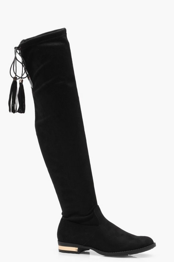 Metallic Heel Clip Flat Over the Knee Boots