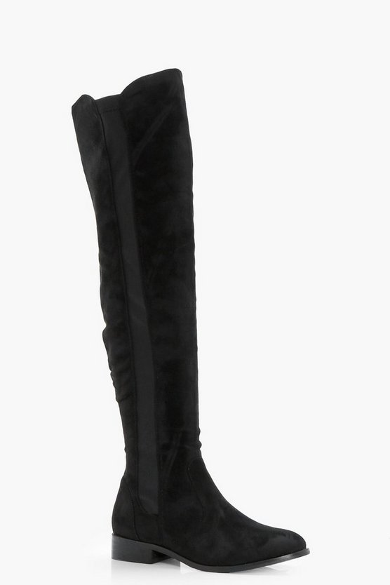 Stretch Panel Flat Over the Knee Boots