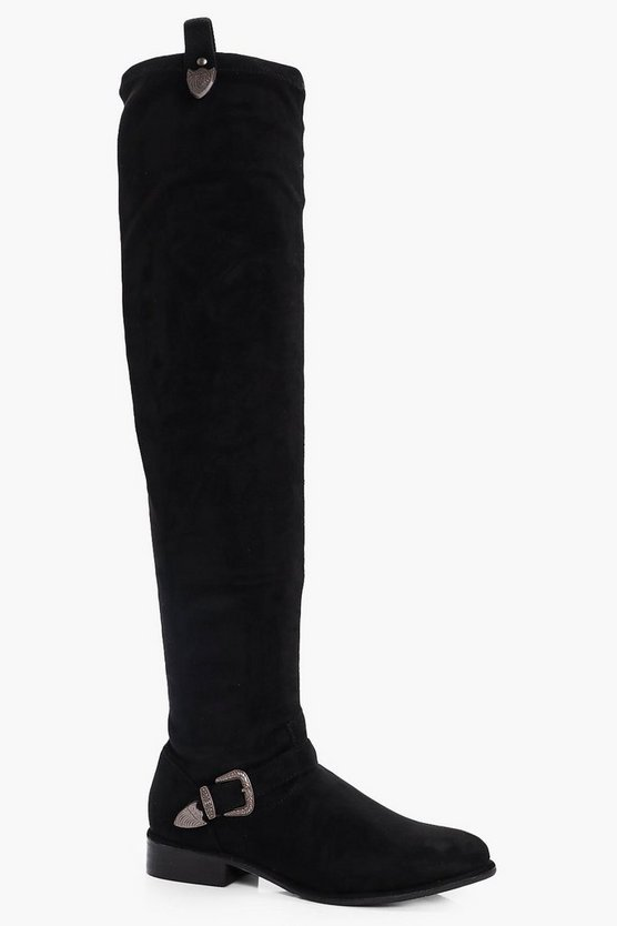 Buckle Trim Over the Knee Boots