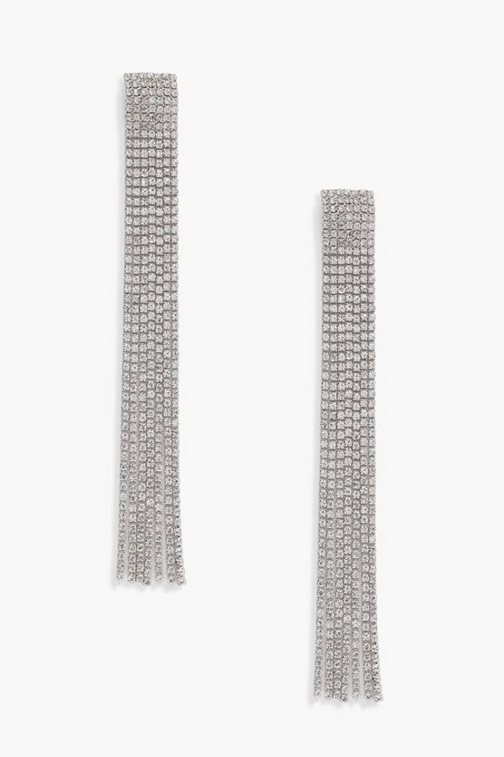 Katie Diamante Tassel Statement Earrings