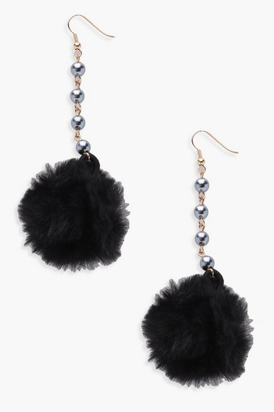 Jessica Faux Fur Pom Bead Detail Earrings