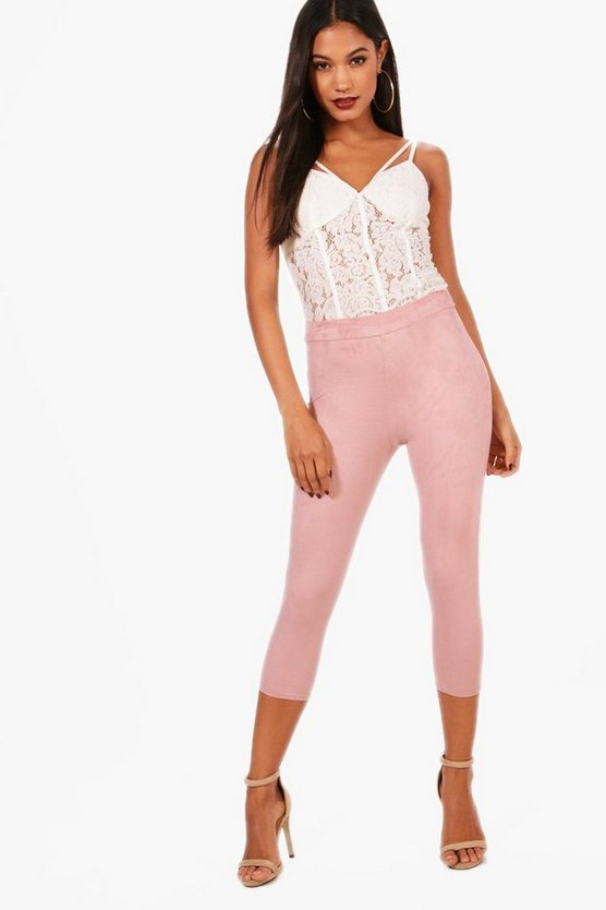 Cropped Highwaist Suedette Leggings