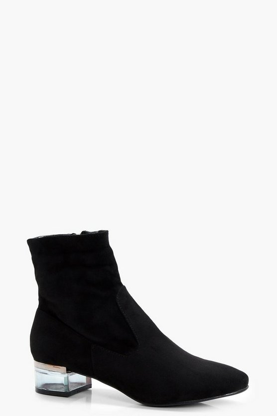 Katherine Clear Block Heel Ankle Boot