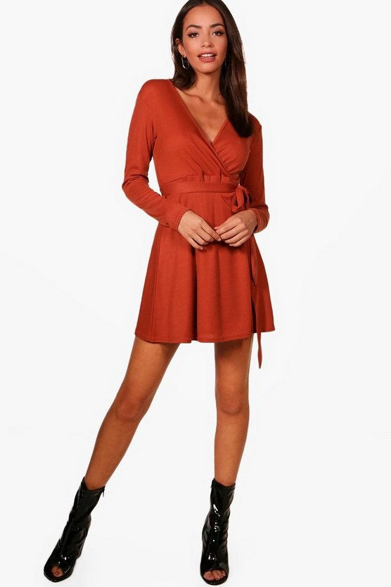 Jess Ribbed Wrap Front Long Sleeve Skater Dress