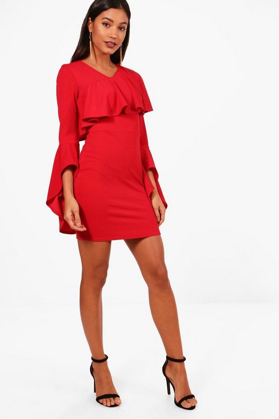 Freya Ruffle Sleeve Shift Dress
