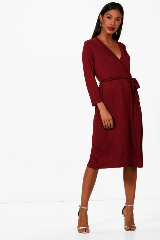 Turn Back Sleeve Wrap Midi Dress