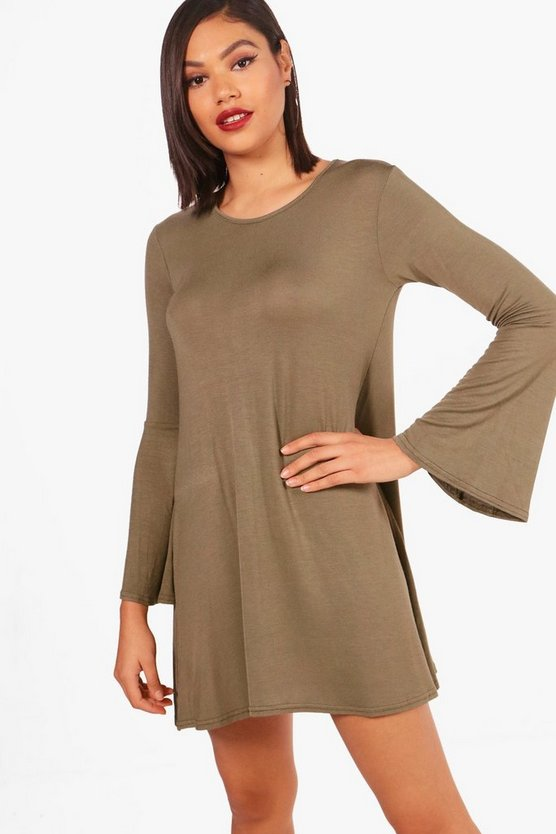 Lauren Flare Sleeve Basic Swing Dress