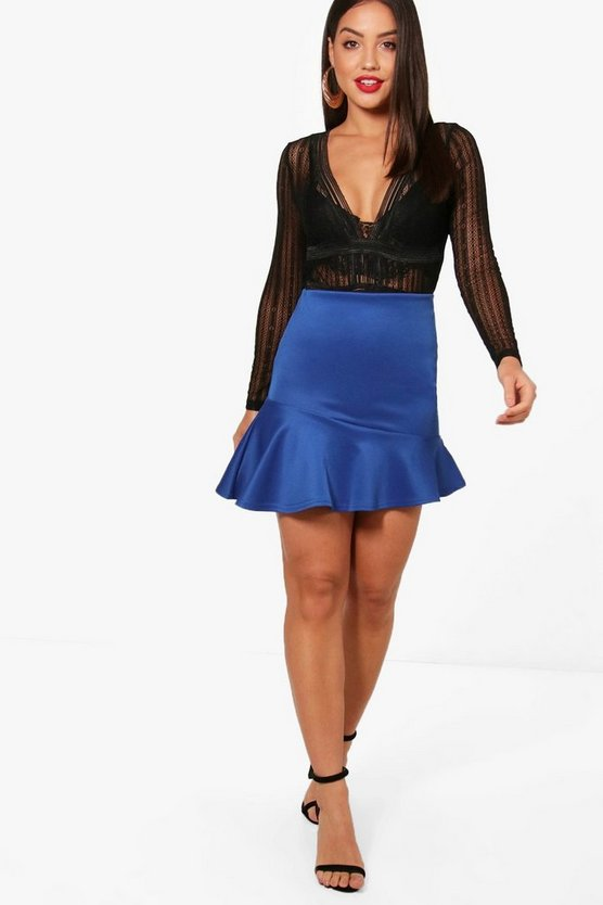 Asymetric Ruffle Hem Mini Skirt