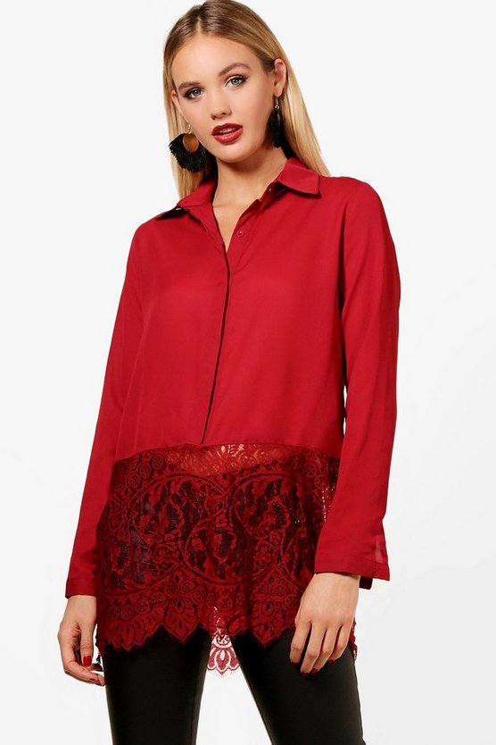 Daisy Eyelash Lace Trim Long Sleeve Shirt