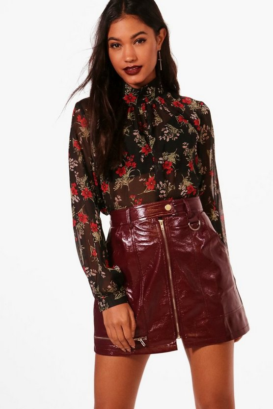 Kadie Ditsy Floral Woven High Neck Blouse