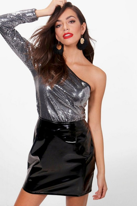 One Shoulder All Over Sequin Top
