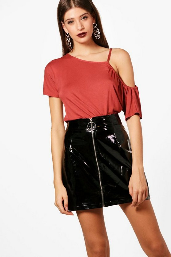 Lisa Basic One Shoulder Tie Sleeve Top