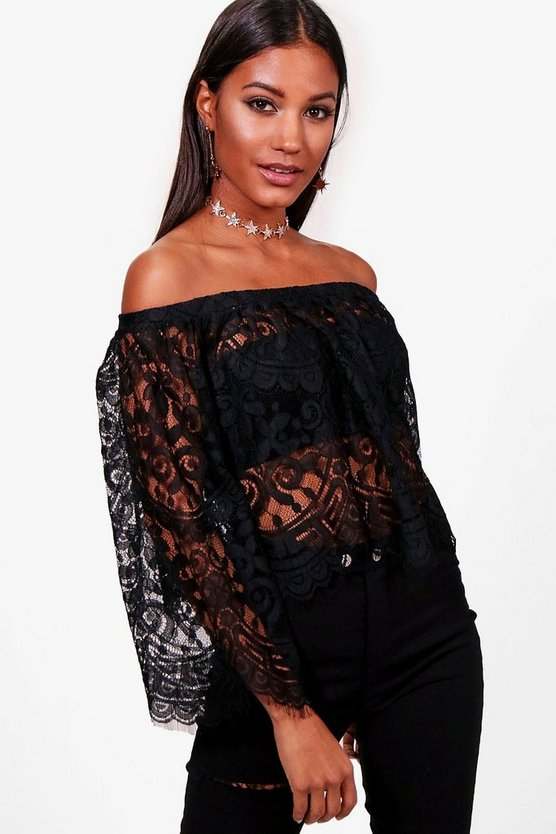 Zoey Lace Frill Long Sleeve Bardot