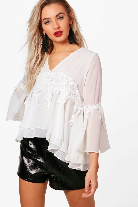 Rita Woven Frill Sleeve Crochet Trim Blouse