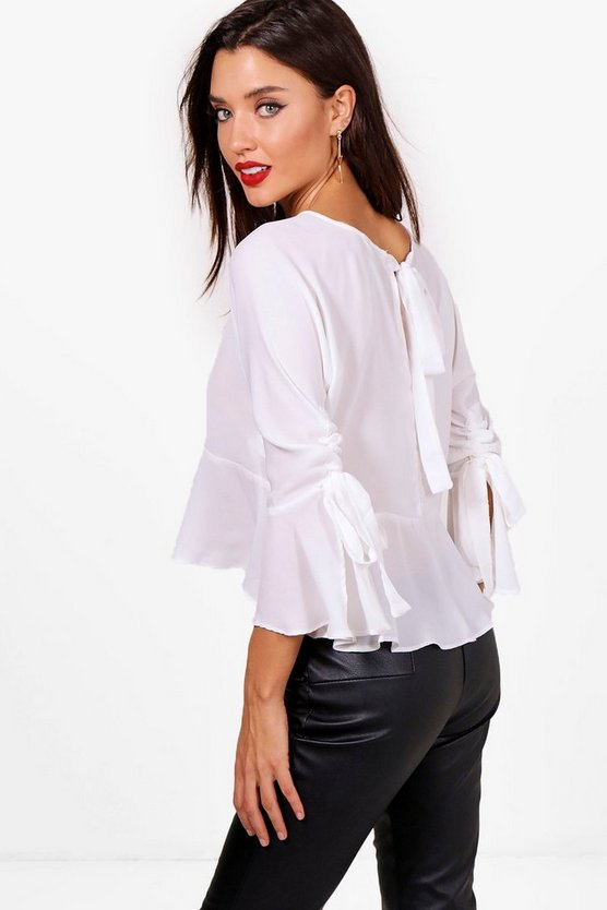 Laura Ruched Sleeve Woven Tie Back Blouse