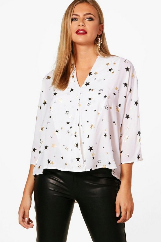 Serena Metallic Star Print Oversized Blouse