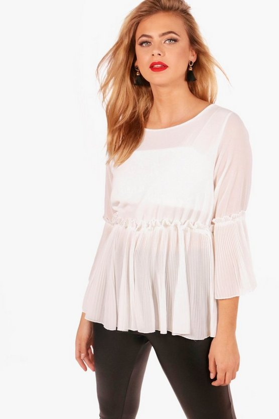 Holly Pleated Peplum Frill Woven Top