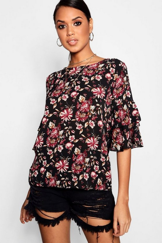 Livvy Oriental Floral Ruffle Sleeve Top