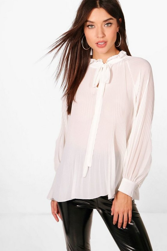 Pleated Pussy Bow Blouse