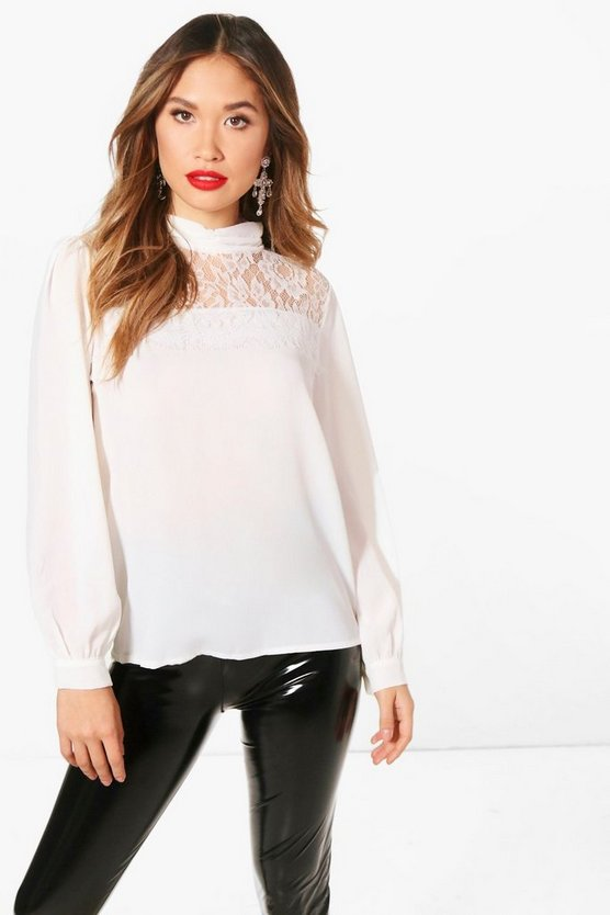 High Neck Lace Panel Blouse